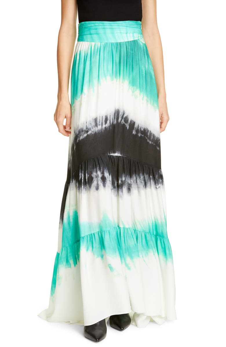 A.L.C. Hopkins Tie Dye Silk Maxi Skirt, Main, color, 300