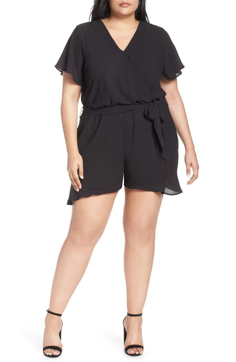 GIBSON x Hi Sugarplum! Catalina Ruffle Hem Romper, Main, color, 001