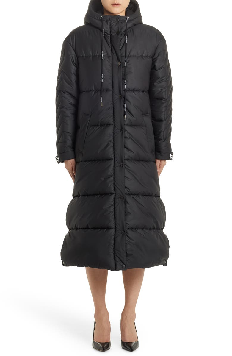 OFF-WHITE Long Down Puffer Coat, Main, color, BLACK