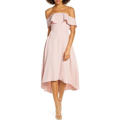 Chi Chi London Wanda Off The Shoulder Party Dress, Pink