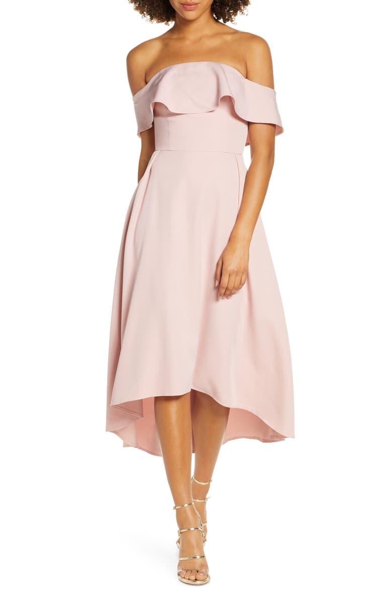 CHI CHI LONDON Wanda Off the Shoulder Party Dress, Main, color, MINK