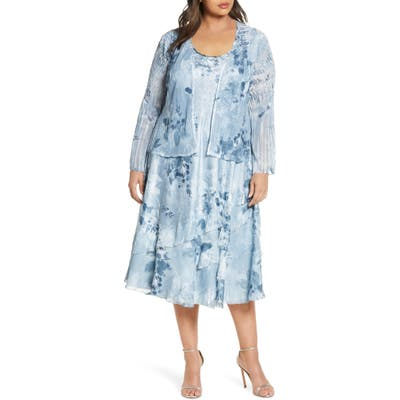 Plus Size Komarov Charmeuse Dress With Chiffon Jacket, Blue
