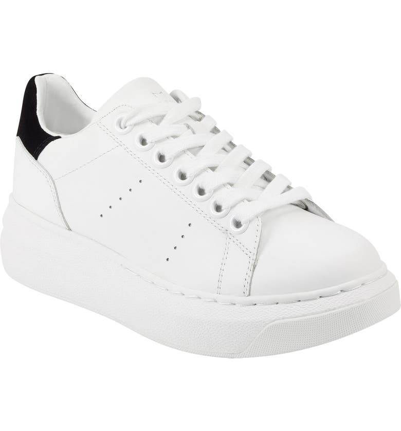 MARC FISHER LTD Maggy Sneaker, Main, color, WHITE/ BLACK LEATHER