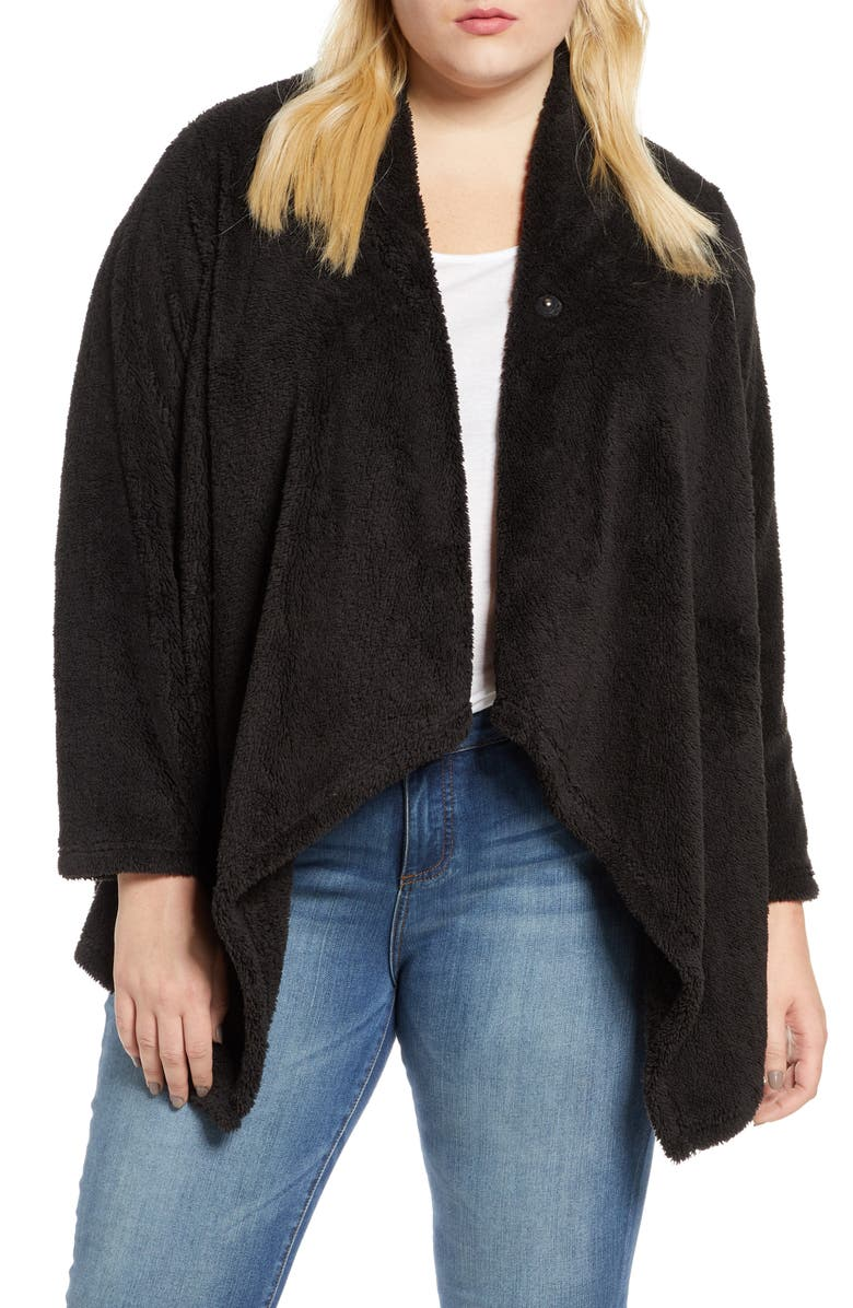 BOBEAU Faux Shearling Drape Front Cardigan, Main, color, BLACK