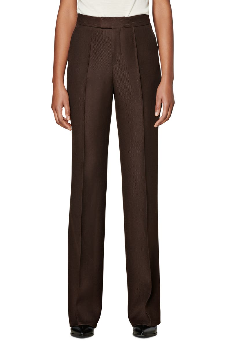 SUISTUDIO Ally Pintuck Seam Wool Trousers, Main, color, CHOCOLATE