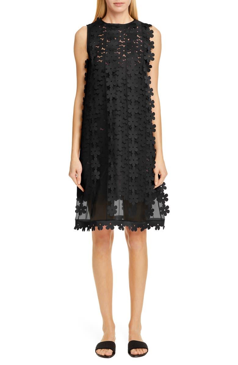 PASKAL Floral Appliqué Double Layer Shift Dress, Main, color, BLACK