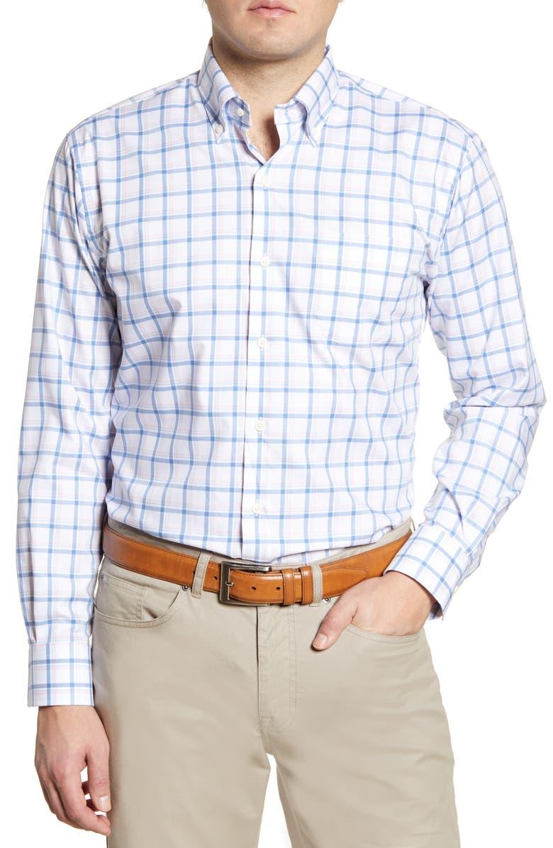 PETER MILLAR Newton Regular Fit Plaid Button-Down Shirt, Main, color, LAKE BLUE