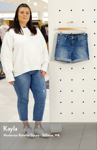Vickie Roll Cuff Denim Shorts, sales video thumbnail
