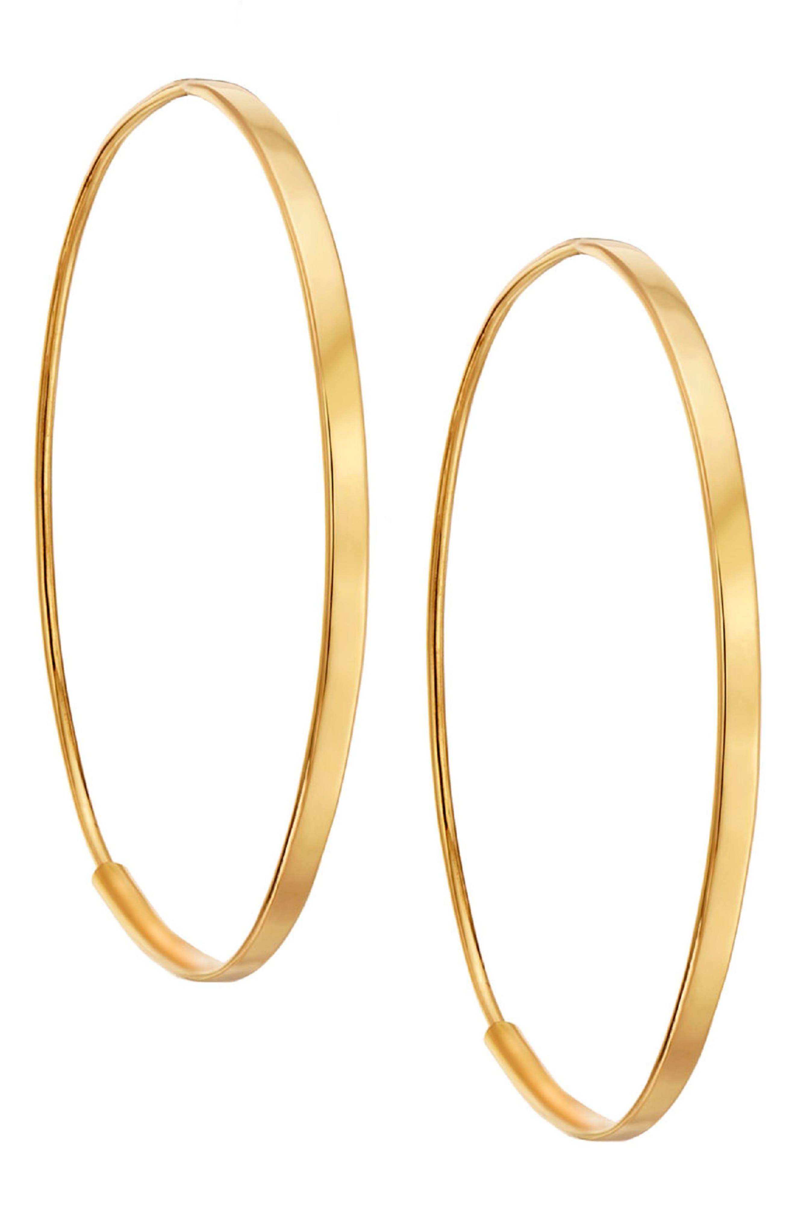 Small Flat Oval Hoop Earrings