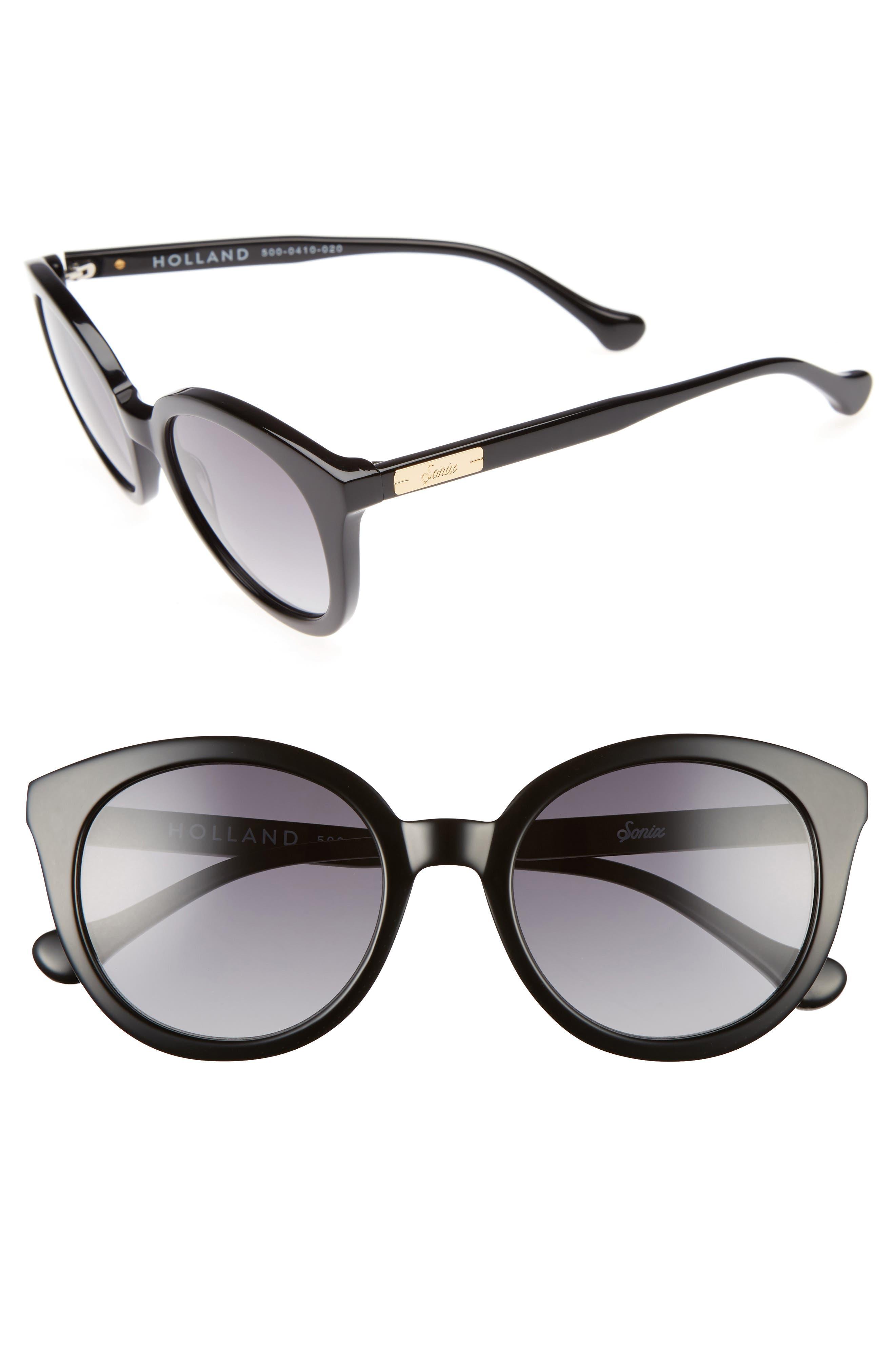 Holland 50mm Gradient Round Sunglasses, Main, color, 001