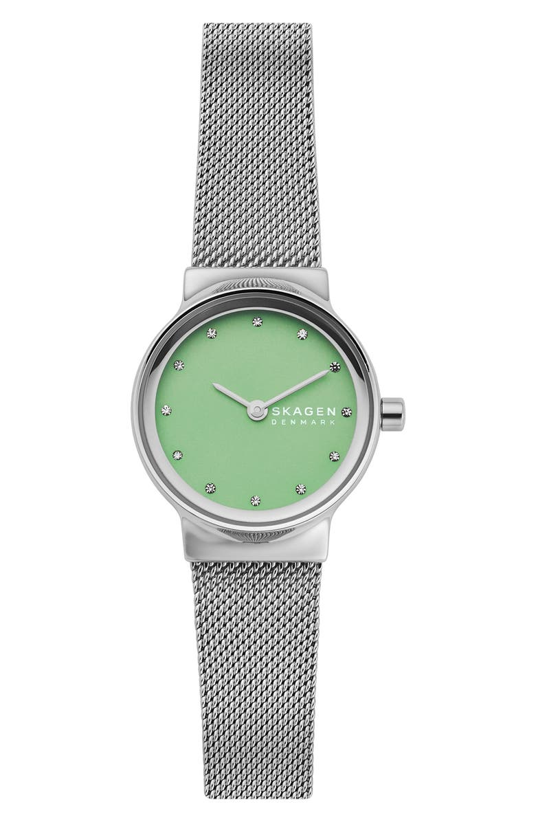 SKAGEN Freja Crystal Accent Leather Strap Watch, 26mm, Main, color, SILVER/ GREEN/ SILVER