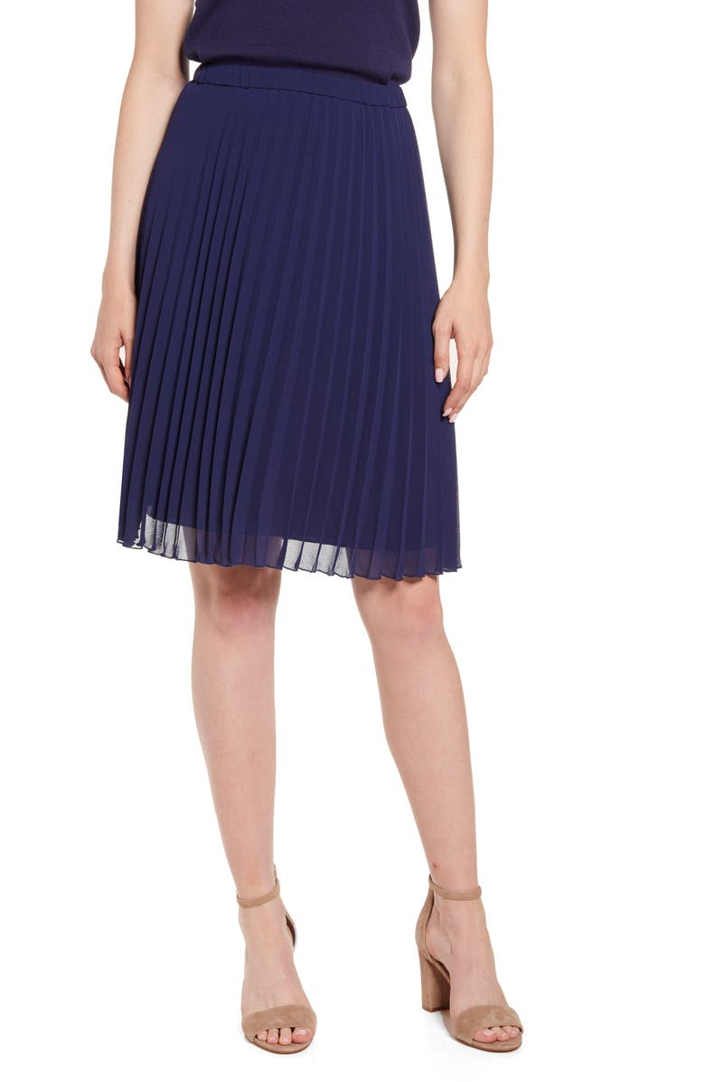 ANNE KLEIN Pleated Skirt, Main, color, ECLIPSE