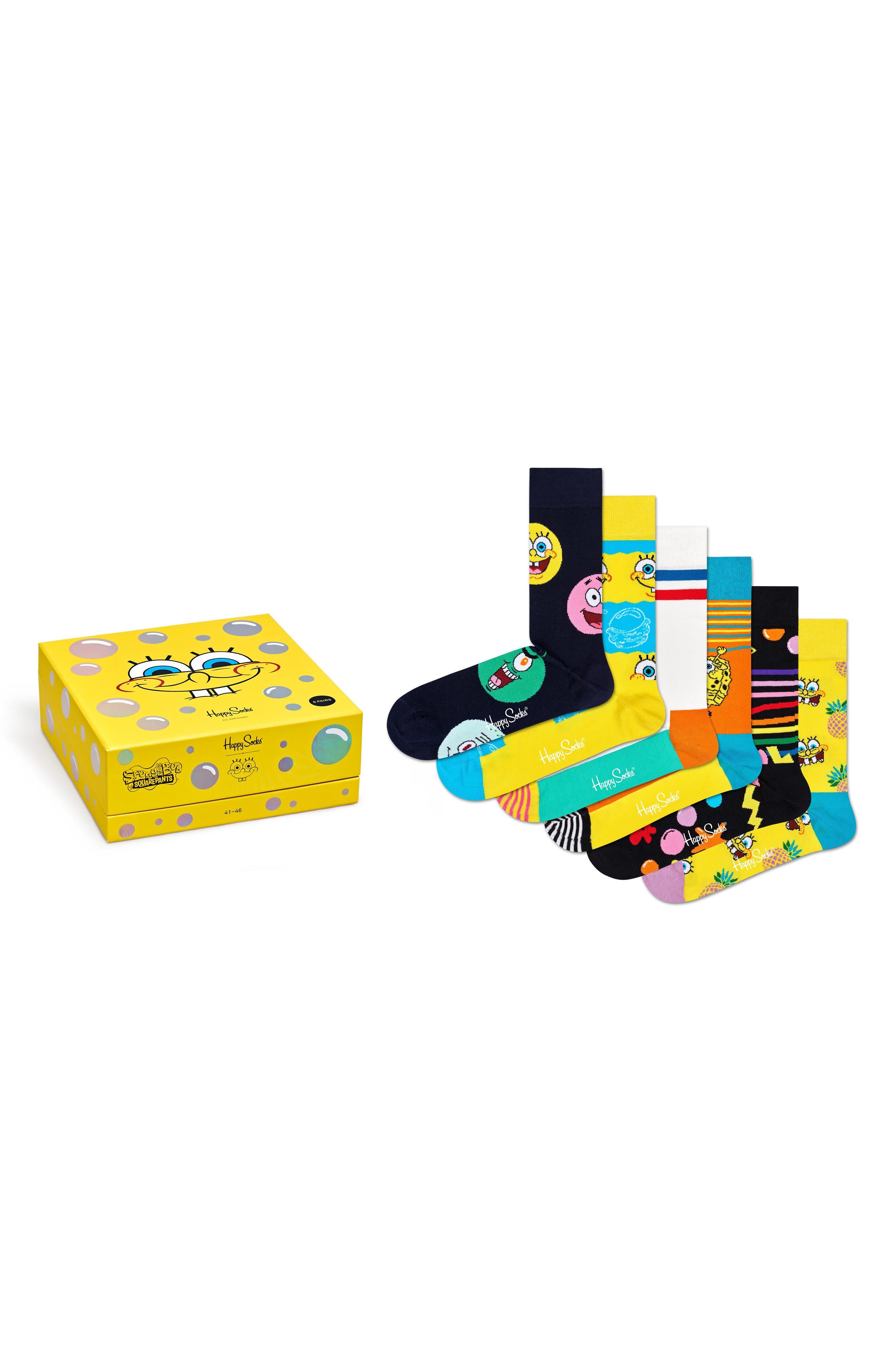 X Spongebob Assorted 6-Pack Crew Socks Gift Box