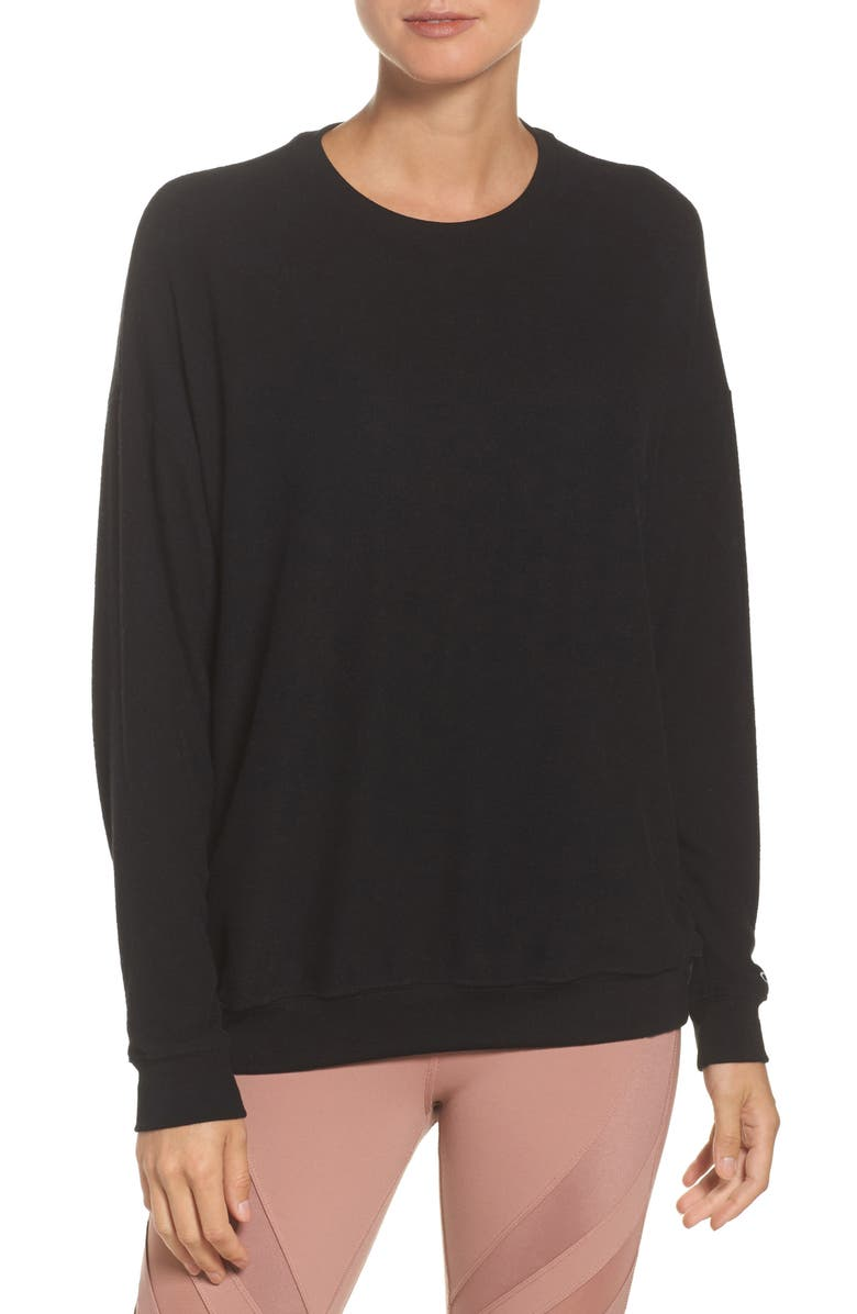ALO Soho Crewneck Pullover, Main, color, BLACK