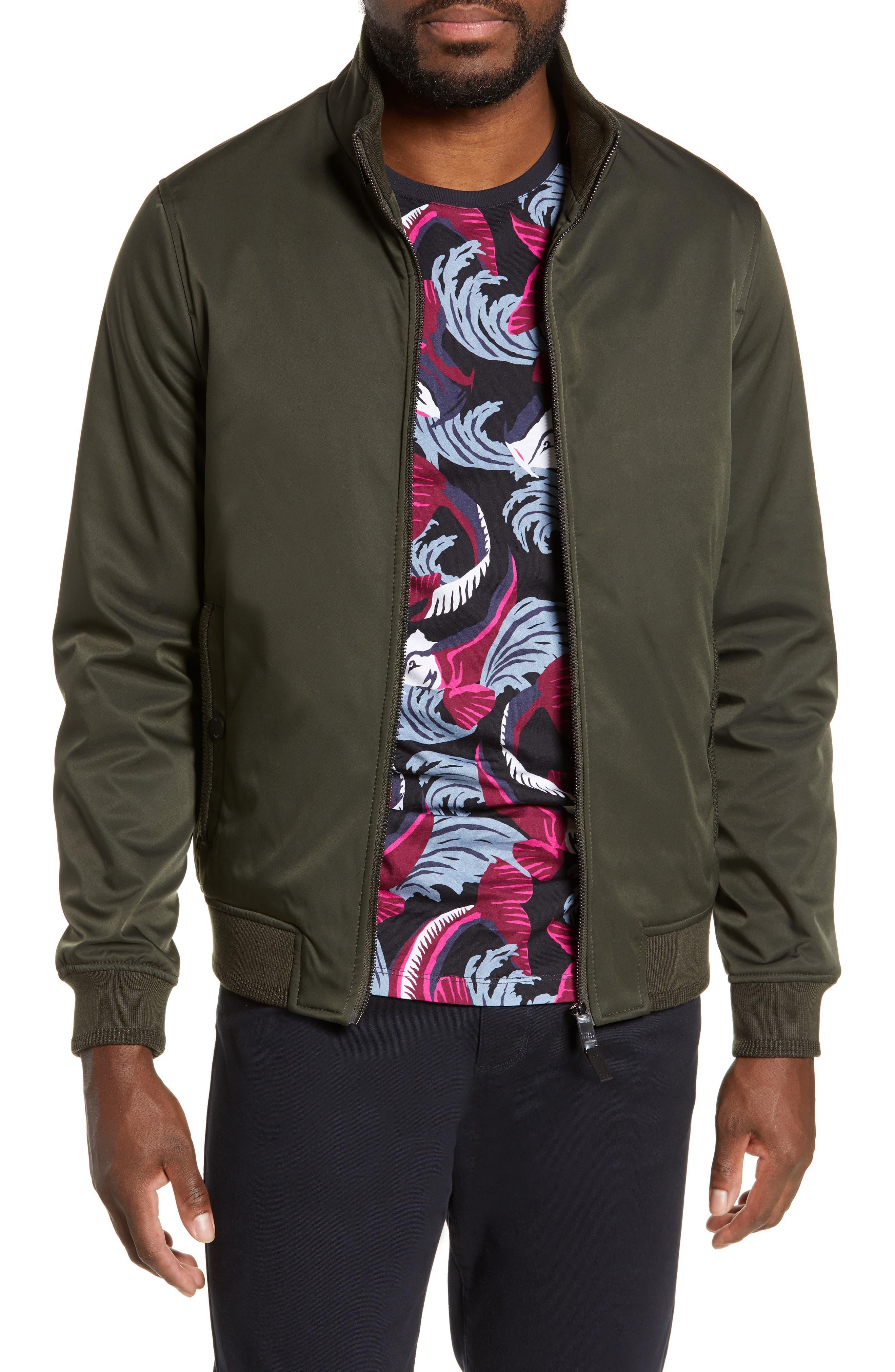 Claude Slim Fit Bomber Jacket, Main, color, KHAKI