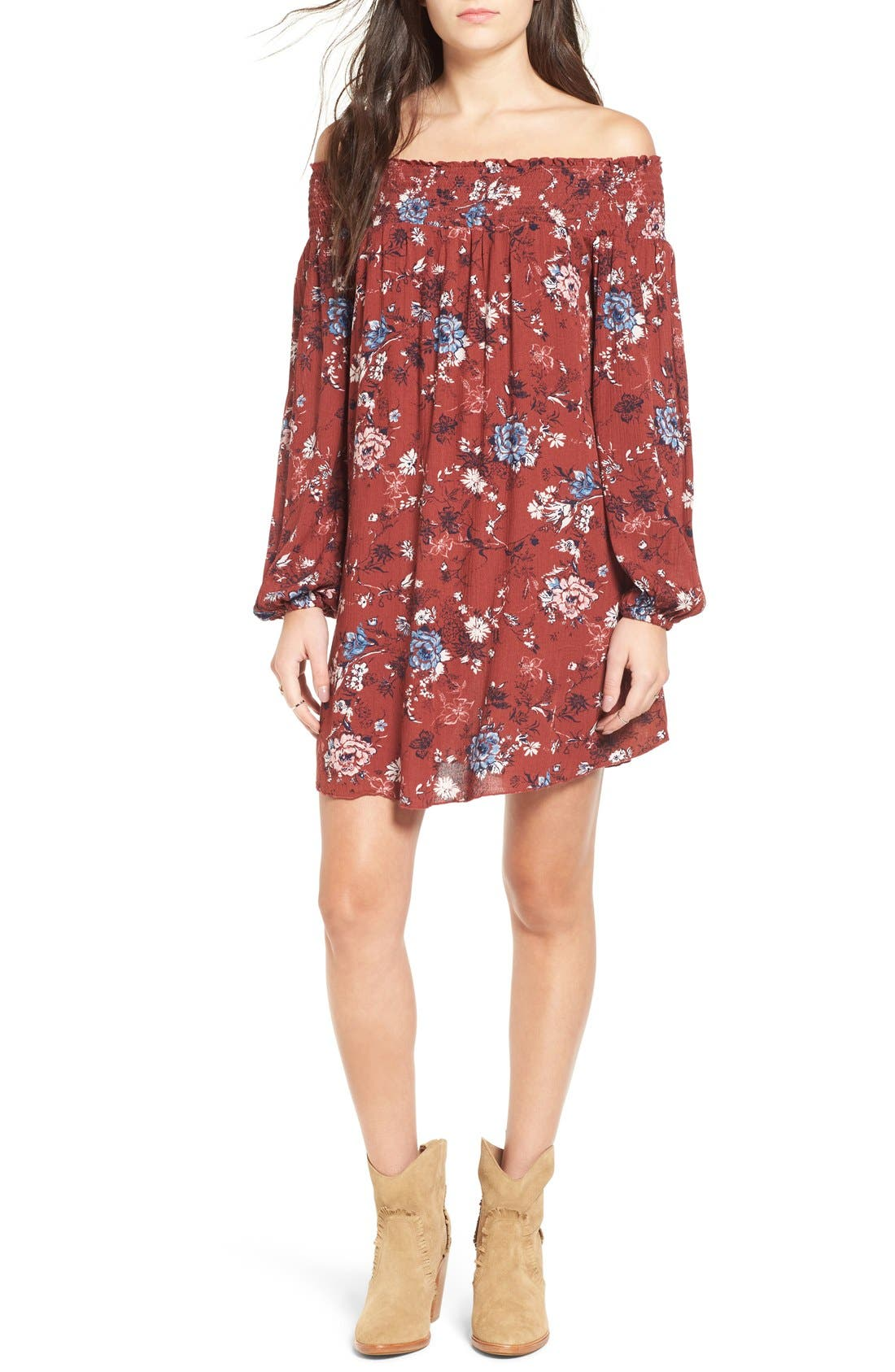 ,                             Floral Print Off the Shoulder Shift Dress,                             Main thumbnail 6, color,                             200