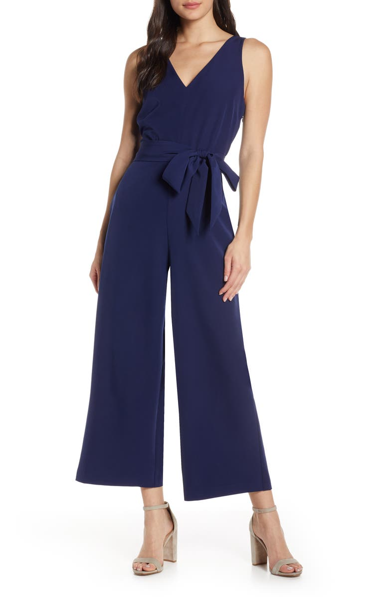 SAM EDELMAN V-Neck Jumpsuit, Main, color, NAVY