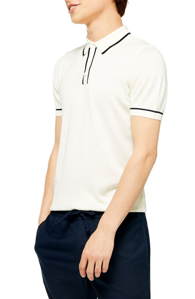 TOPMAN Tipped Polo, Main, color, 100