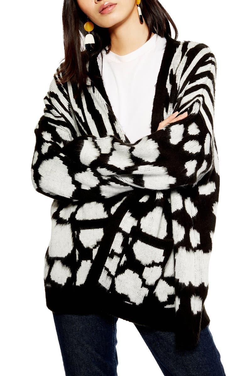 TOPSHOP Zebra Mix Cardigan, Main, color, 002