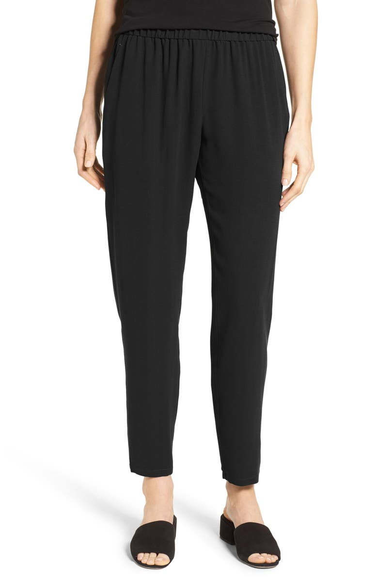 EILEEN FISHER Slouchy Silk Crepe Ankle Pants, Main, color, BLACK