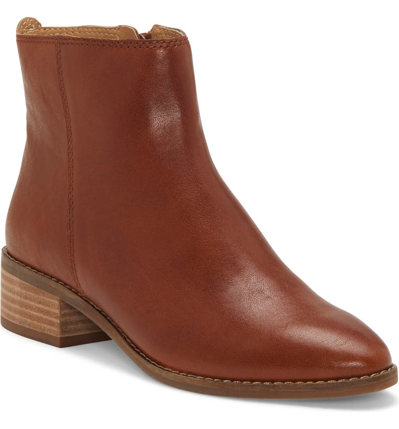 LUCKY BRAND Lenree Almond Toe Bootie, Main, color, WHISKEY LEATHER