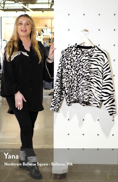 White Label Animal Jacquard Cotton Blend Sweater, sales video thumbnail