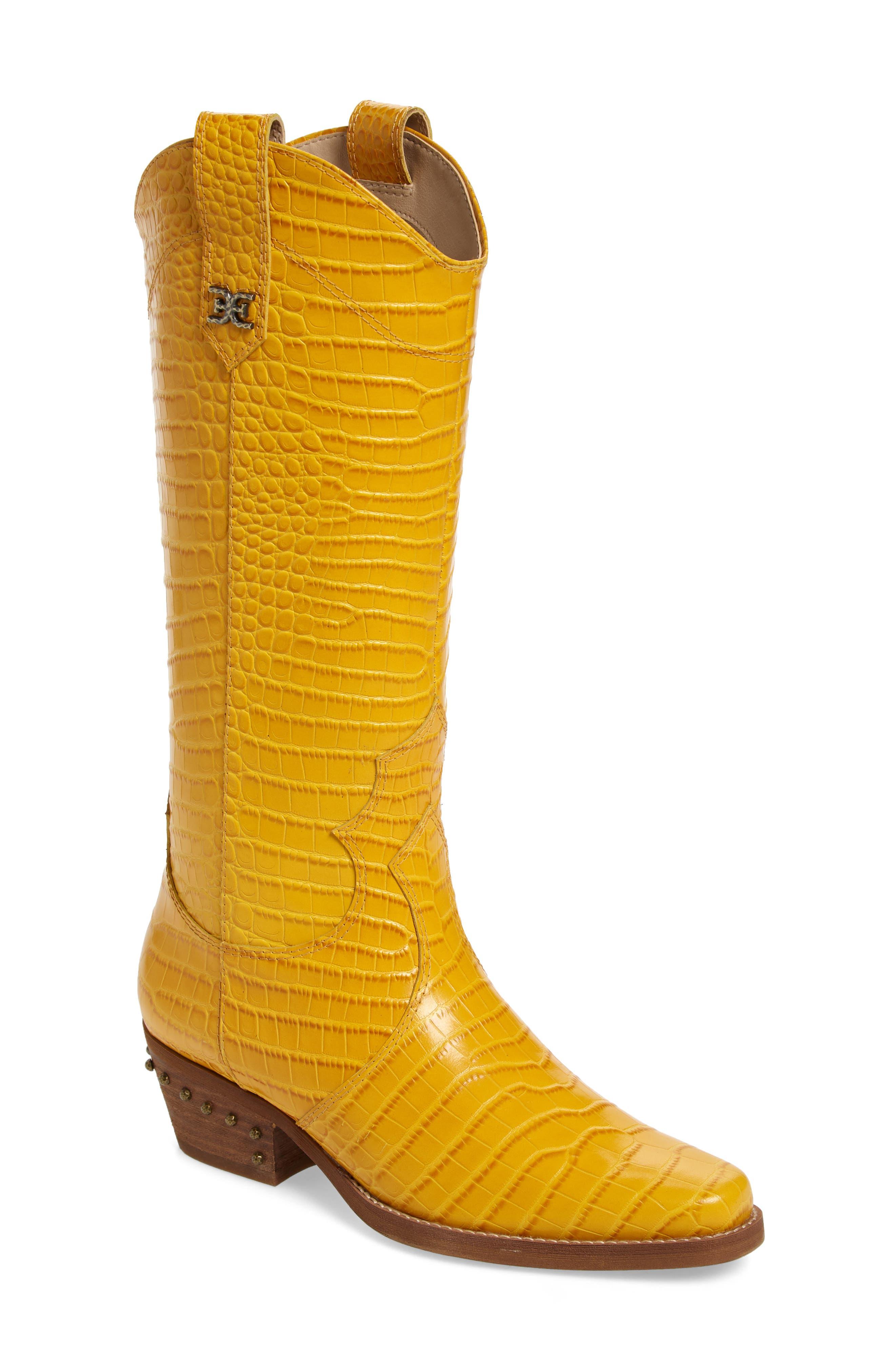 Sam Edelman Oakland Croc Embossed Western Boot