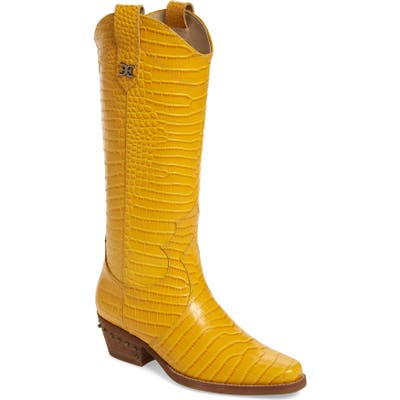 Sam Edelman Oakland Croc Embossed Western Boot- Yellow