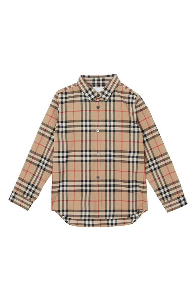 BURBERRY Fredrick Plaid Woven Shirt, Main, color, ARCHIVE BEIGE