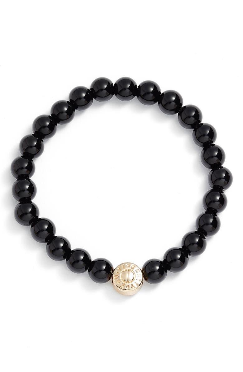 KNOTTY Tessa Gemstone Beaded Bracelet, Main, color, BLACK ONYX