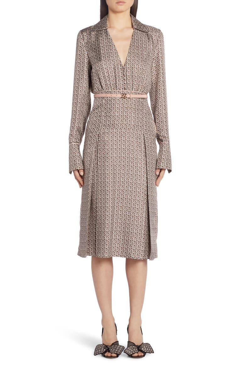 FENDI Floating Petal Long Sleeve Silk Twill Midi Dress, Main, color, 160