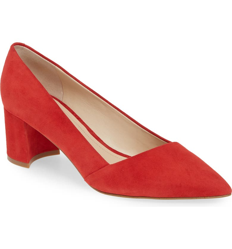 Yovani Pointy Toe Pump, Main, color, RED SUEDE
