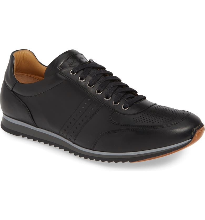 MAGNANNI Marlow Water Resistant Sneaker, Main, color, BLACK LEATHER