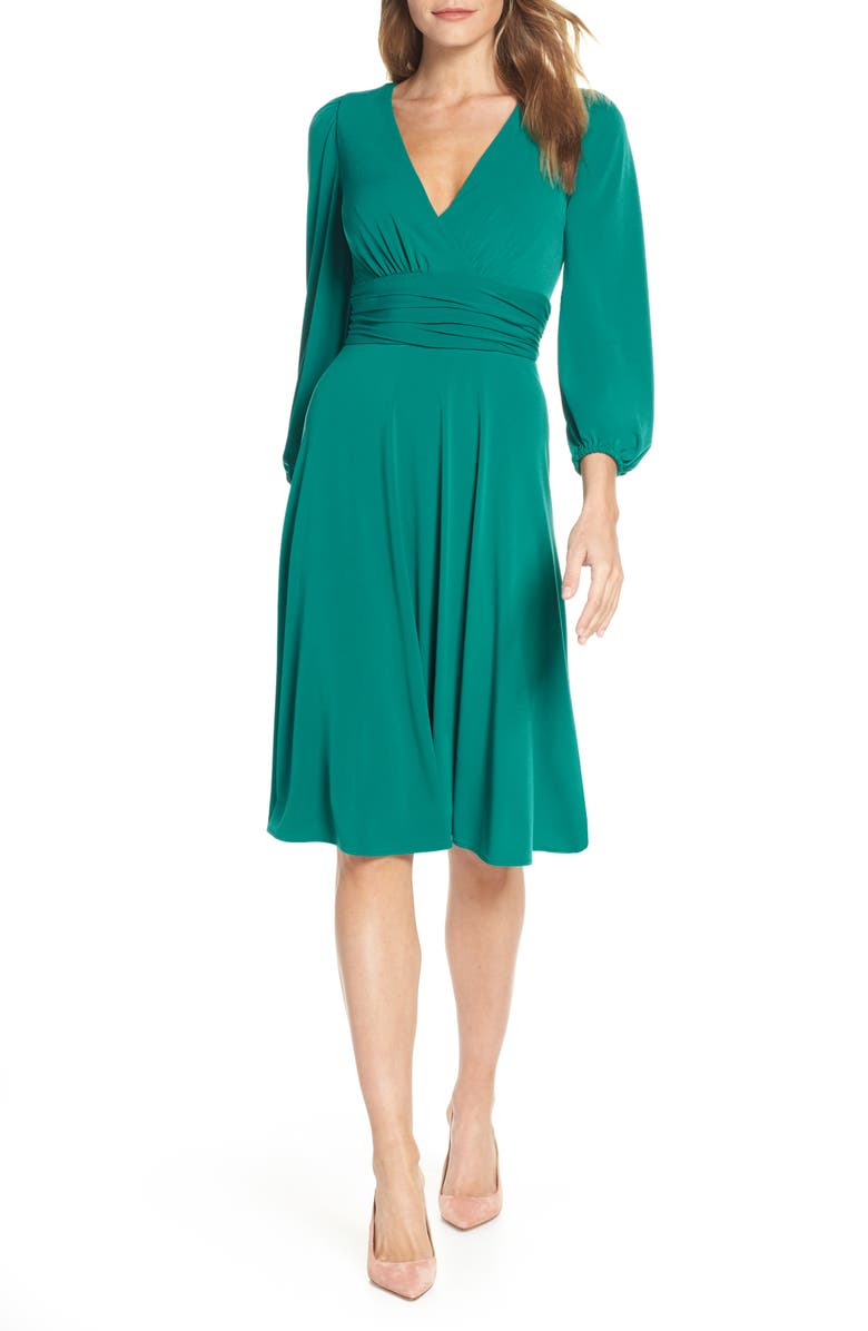 ELIZA J V-Neck Fit & Flare Dress, Main, color, 310