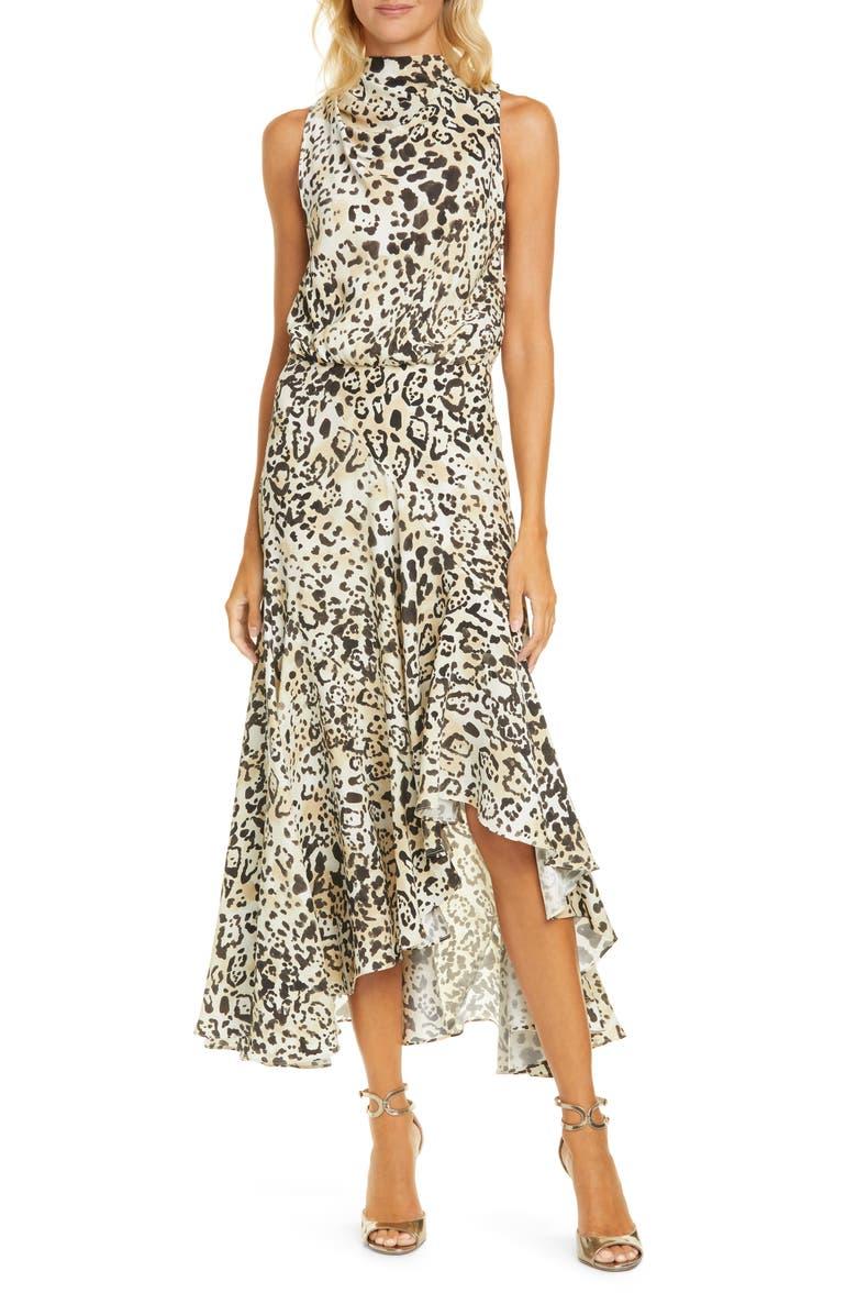 LA LIGNE Animal Print Bow Back Handkerchief Hem Silk Dress, Main, color, ANIMAL PRINT