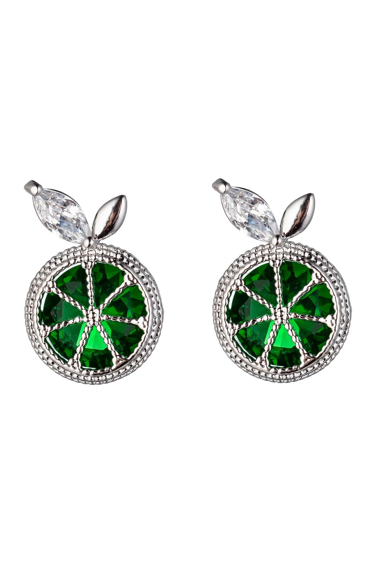 Image of Eye Candy Los Angeles Sina Brass Green Lime Slice CZ Crystal Stud Earrings
