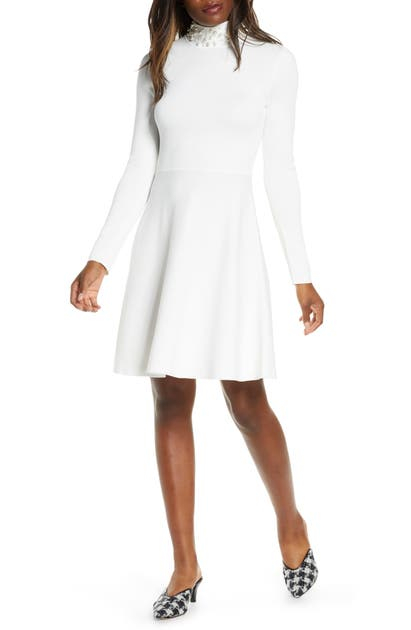 Eliza J Long Sleeve Fit & Flare Sweater Dress In Ivory