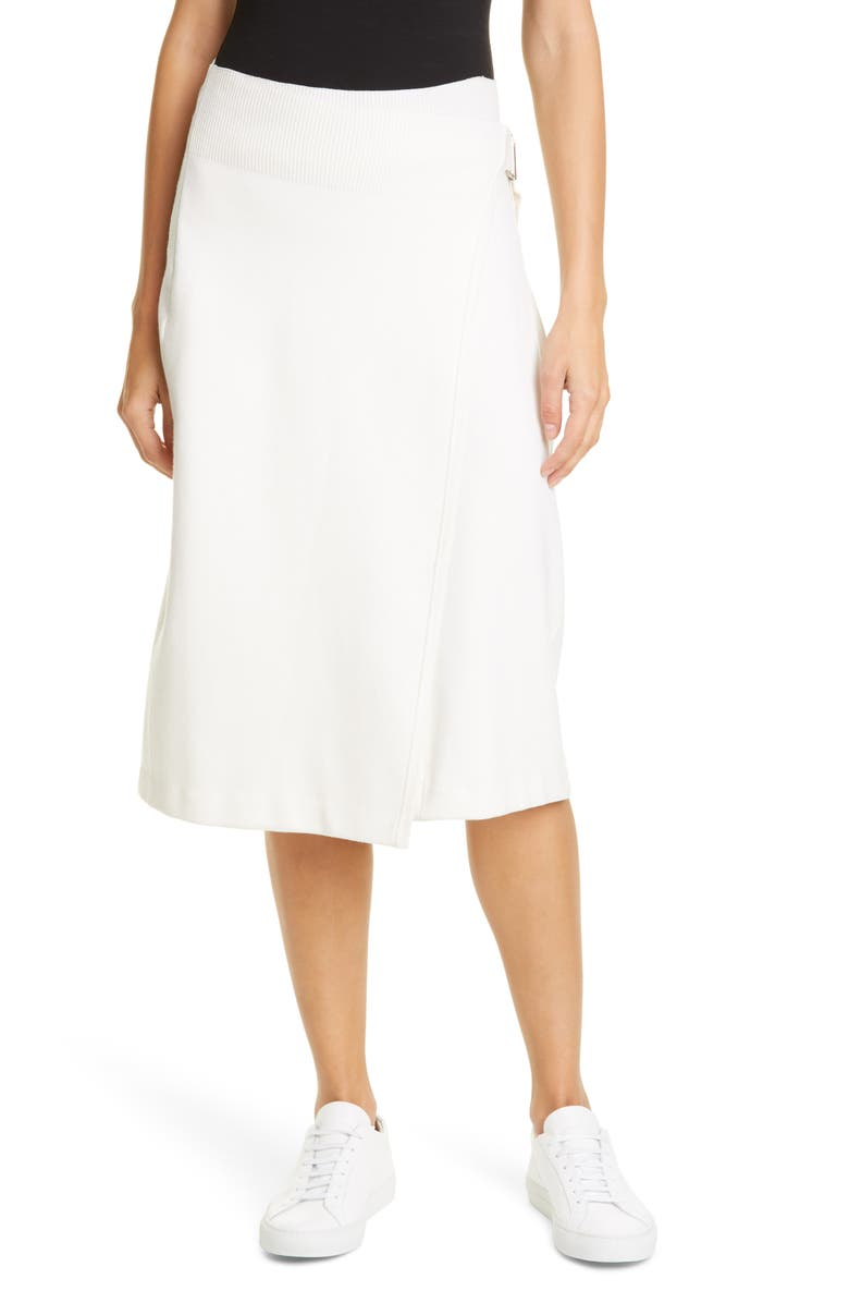 HELMUT LANG Compact Wool Blend Skirt, Main, color, 100