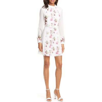 Ted Baker London Sundee Floral Lace Trim Long Sleeve Minidress, Ivory