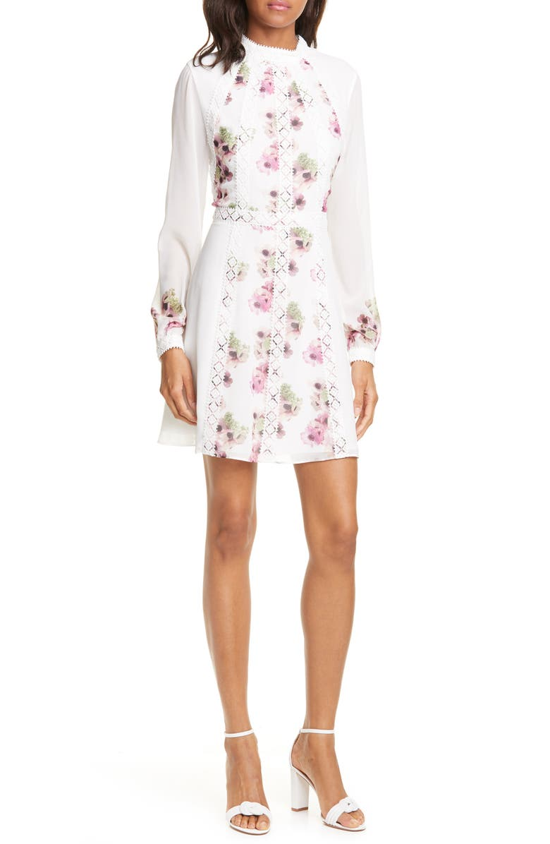 TED BAKER LONDON Sundee Floral Lace Trim Long Sleeve Minidress, Main, color, IVORY