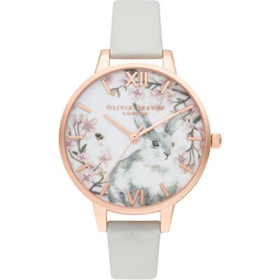 Olivia Burton Pretty Blossom Faux Leather Strap Watch,