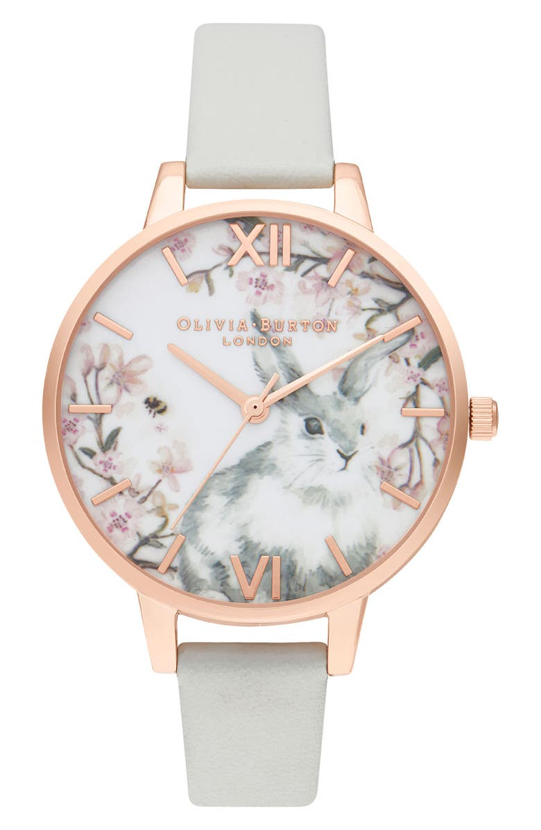 OLIVIA BURTON Pretty Blossom Faux Leather Strap Watch, 34mm, Main, color, 020