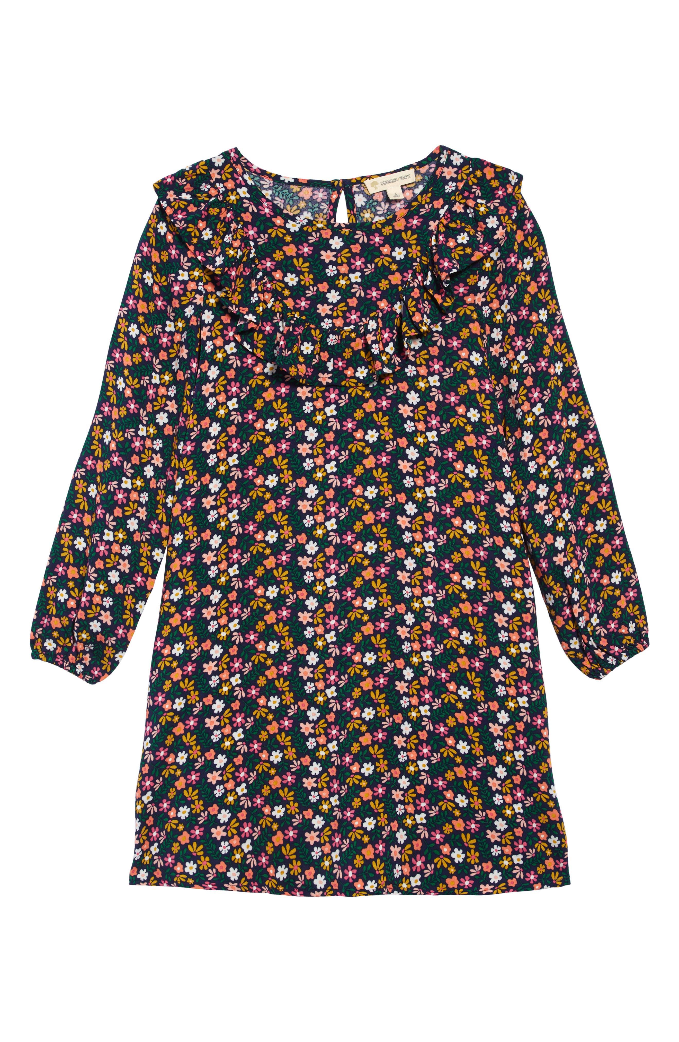 60s 70s Kids Costumes & Clothing Girls & Boys Toddler Girls Tucker  Tate Floral Print Ruffle Dress Size 3T - Blue $35.00 AT vintagedancer.com