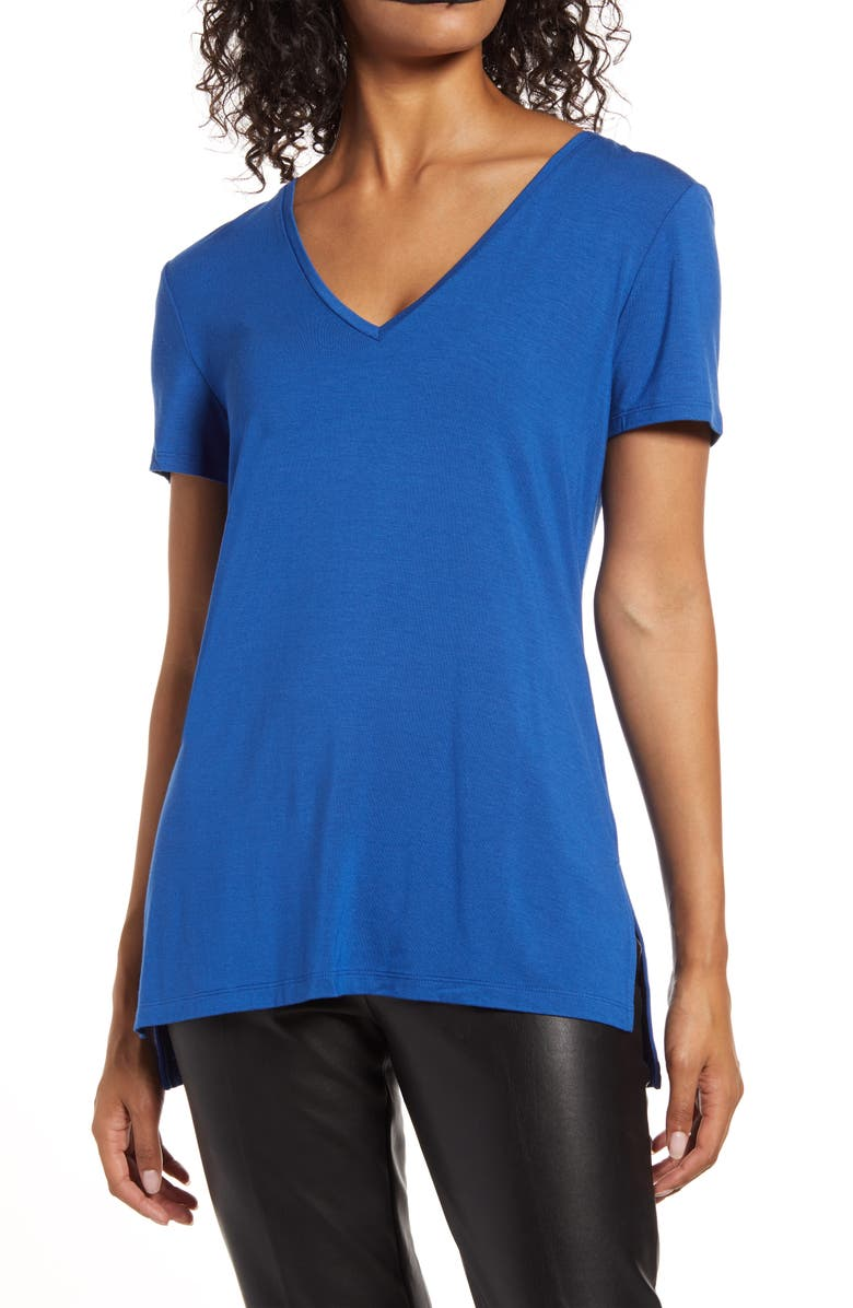 HALOGEN<SUP>®</SUP> V-Neck Tunic T-Shirt, Main, color, BLUE MONACO