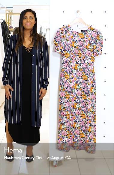 Bianca Puff Sleeve Silk Midi Dress, sales video thumbnail