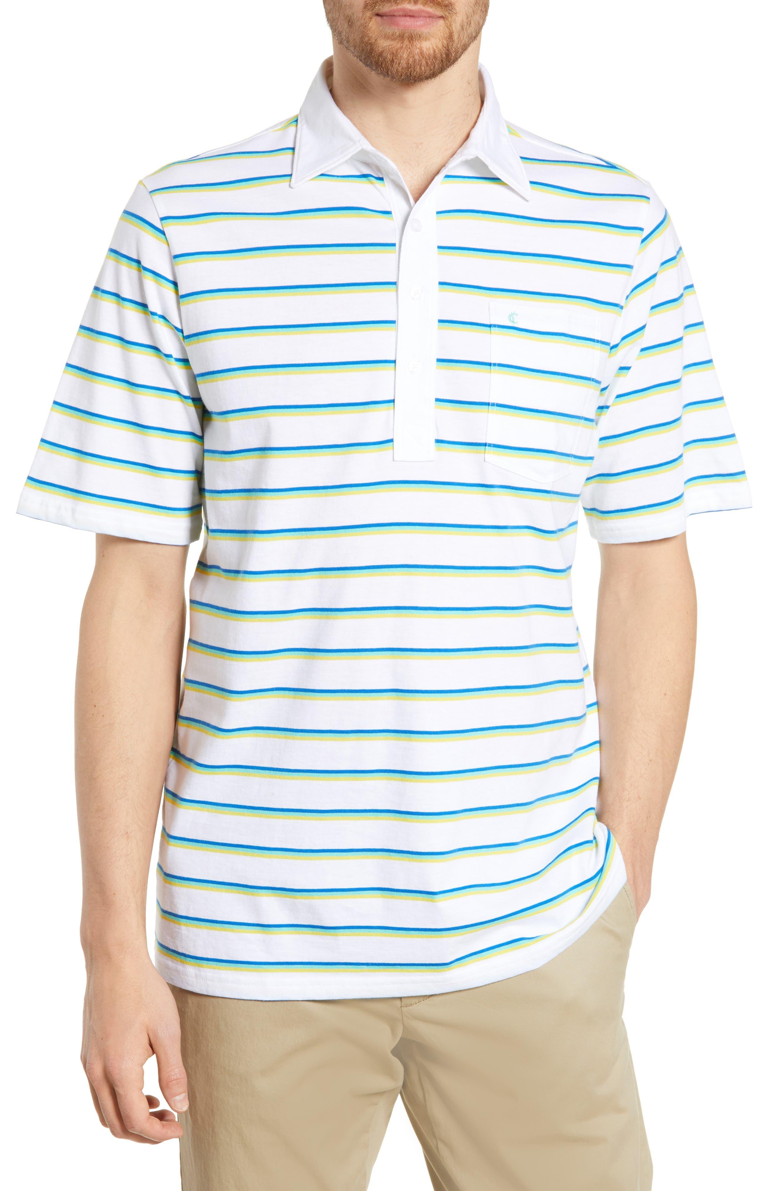 Criquet Regular Fit Players Stripe Jersey Polo, Blue