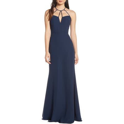 Hayley Paige Occasions Strappy Detail Chiffon Evening Dress, Blue