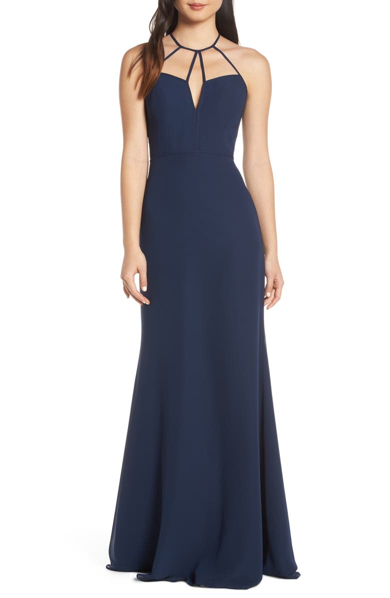 HAYLEY PAIGE OCCASIONS Strappy Detail Chiffon Evening Dress, Main, color, INDIGO