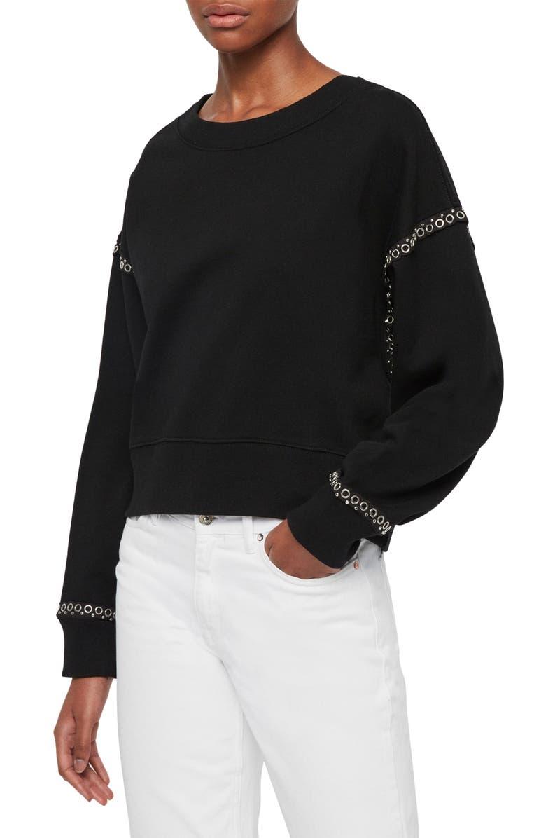 ALLSAINTS Rafa Grommet Trim Cotton Sweatshirt, Main, color, BLACK