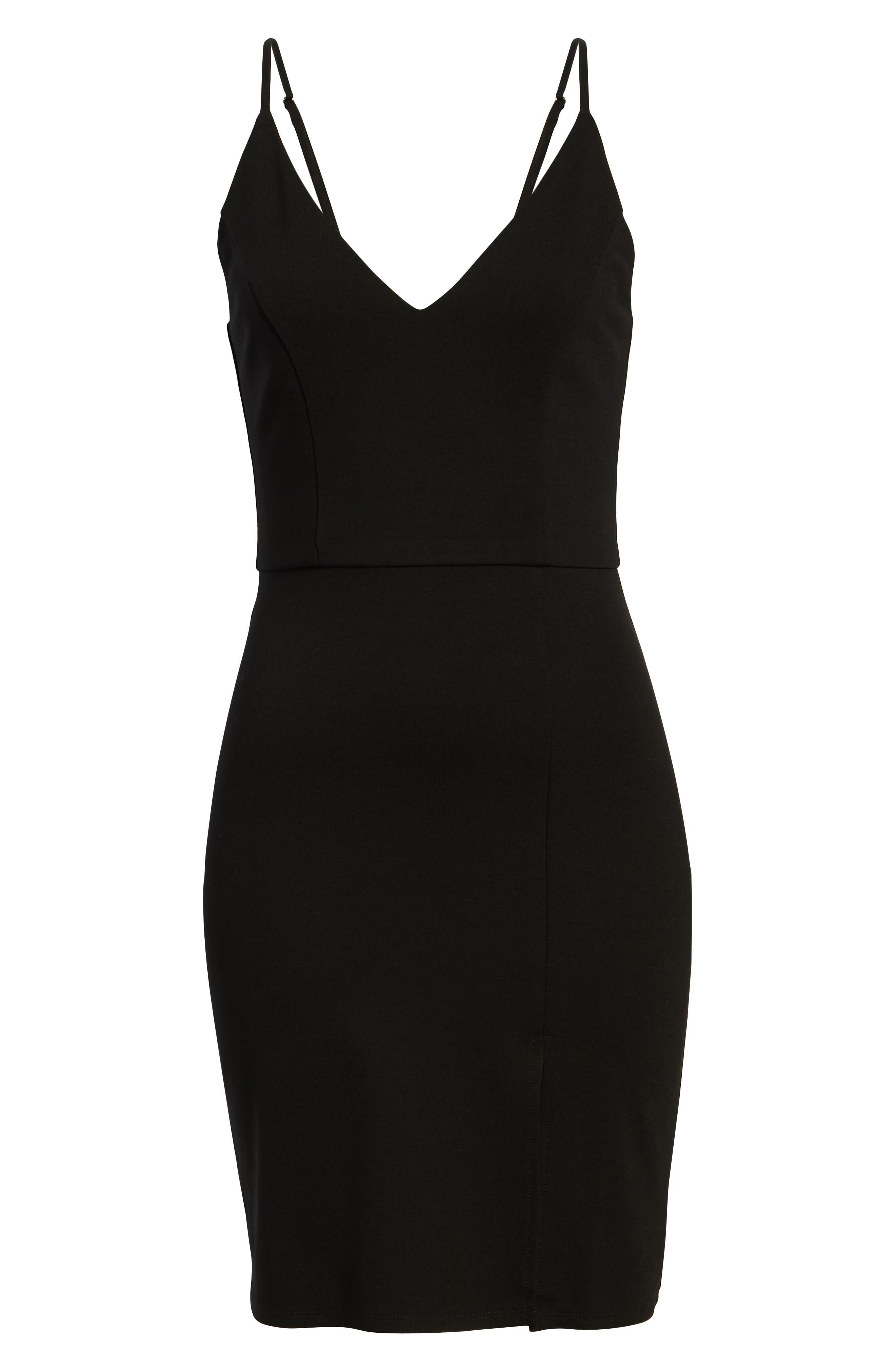 ,                             V-Neck Body-Con Dress,                             Alternate thumbnail 6, color,                             BLACK